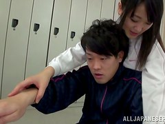 Cute Japanese teen gets nailed in a dressing room