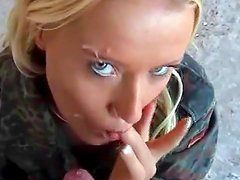 Pretty blonde is drinking cum from glass
