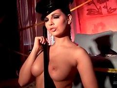 Police officer Eve Angel plays with night stick