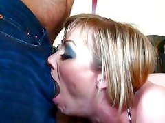 Adrianna Nicole chokes on this hard throbbing cock