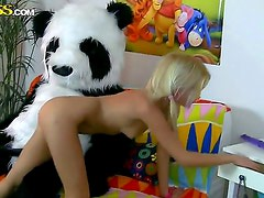 Teen blonde girl Sally is giving hot blowjob to her boyfriend