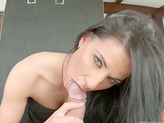 Lusciuos bruentte babe Athina gets fucked up in missionary and cowgirl styles