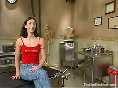 Wenona gets her juicy vag drilled hard by a fucking machine