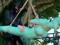 Latex catsuit girl bound and fucked in her cunt
