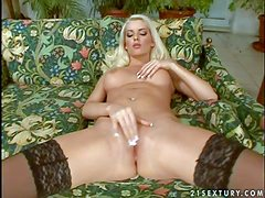 Hot and arousing blonde with pale milky skin and big