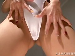 Sexy Japanese in White Swuimsuit Masturbating with Vibrator
