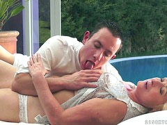 Sila the slutty granny rides big dick and licks guy's ass