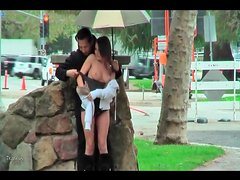 Nearly naked girl groped lustily in public