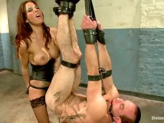 Stunning Gia Dimarco Dominating and Pegging a Tied Up Dude in BDSM Vid