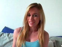 Blonde teen talks naughty and strips solo