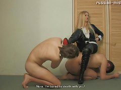 Naked guys for leather mistress to walk on