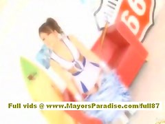 Risa Tsukino Asian doll in cheerleader gets licked