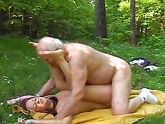 Redhead Teen's Nailed By An Old Man Outdoors