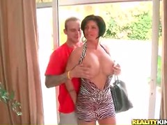 Fondling curvy milf in slutty dress for arousal