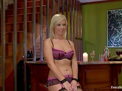 Blonde and brunette toy their tight asses and use strap-on
