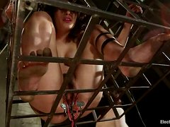 Brunette chick with bushy pussy gets tortured with elec.