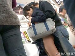 Naughty Japanese School Girl Sucking Cock and Getting Fucked in Train