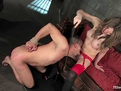 Kelly Shore the tranny in red lingerie dominate and fucks a guy