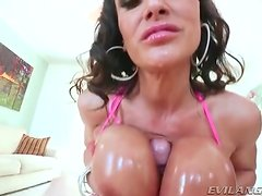 Lisa Ann lubed titjob and huge facial cumshot