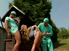 Two horny doctors fucking gorgeous blonde babe Gilda