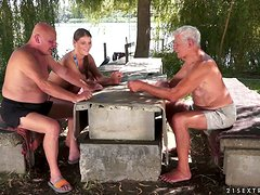 Old Fellas Get Their Summer Vacation Revolutionized When A Horny Babe Sucks Them Both!