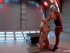 Blonde girl with oiled up ass gets her ass toyed and drilled