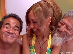 Steaming hot Japanese siren is given to two old farts