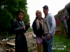 Construction site sex with sultry German girls