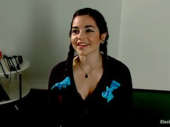 Toying and Torturing Pigtailed Cutie with Electricity in Lesiban Femdom