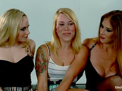 Pussy Stimulation for Hanging Blonde in Lesbian Femdom Threesome
