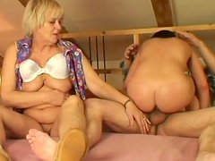 Perverted chick Eva T has a hot threesome with horny old couple for orgasm