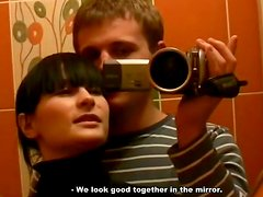 Whorable brunette gal gives a solid blowjob for sperm in the restroom