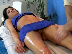 Missionary sex after slippery massage with lewd brunette Latina hoe