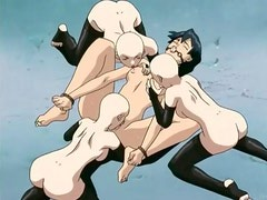 Hentai group sex features bondage and fucking