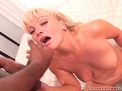 Black dicks shoot jizz on the faces of white girls