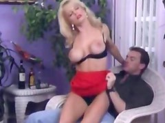 Blonde with black lingerie gets pussy stuffed