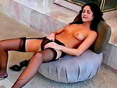 Brunette gives stunning masturbation scene