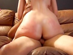 Hot girl bounces on her ample ass