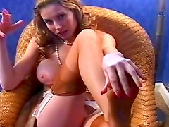 Superb blonde in sexy fetish solo