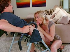 Blonde mom Julia drives some guy crazy with a terrific blowjob