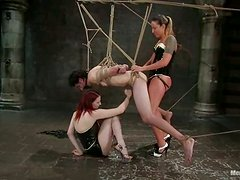 Redhead and blond babes are sharing that male slave