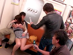 Busty Japanese babe is getting fucked in the subway train