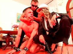 Naked man strampled by mistress in heels