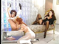 Taylor St Claires - lesbian scene in pantyhose