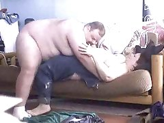 bbw and BHM fuck on the couch