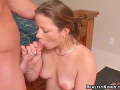 Avery sucks a dick and gets her pink cave drilled hard