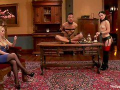 Two sex slaves have an amazing lesbian sex with Mistress