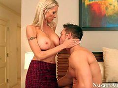 Hot,busty and arousing blonde housewife Emma Starr enjoys in seducing