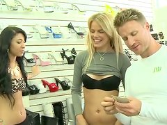 Brazen hussy shows her ass in a shop