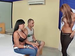 Latina T-Girls And A Guy